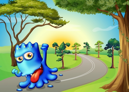 long tongue: Illustration of a blue monster running with a smile