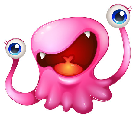 animated alien: Illustration of a very excited pink monster on a white background