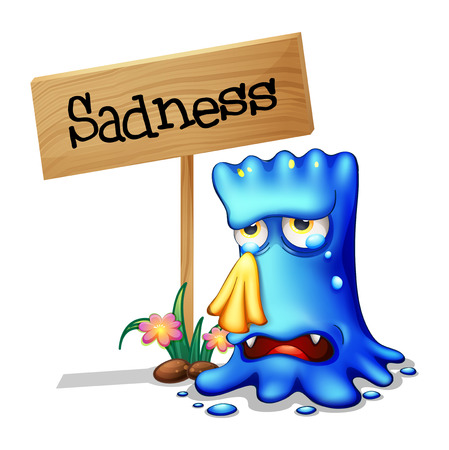 problematic: Illustration of a very sad blue monster crying near a wooden signage on a white background Illustration