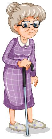 白い背景の上の杖老婆のイラスト