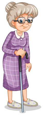 Illustration of an old woman with a cane on a white background