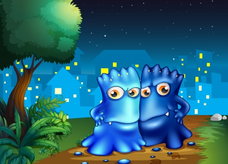Illustration of the two monsters strolling in the middle of the night Vector