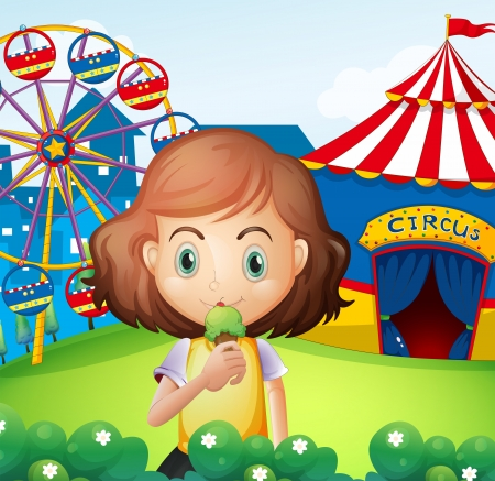 rotations: Illustration of a girl at the carnival eating an icecream