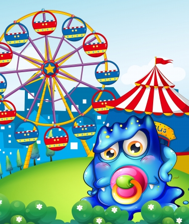 wheel house: Illustration of a baby blue monster at the carnival