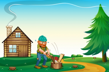 hilltop: Illustration of a lumberjack chopping the woods at the hilltop near the wooden house