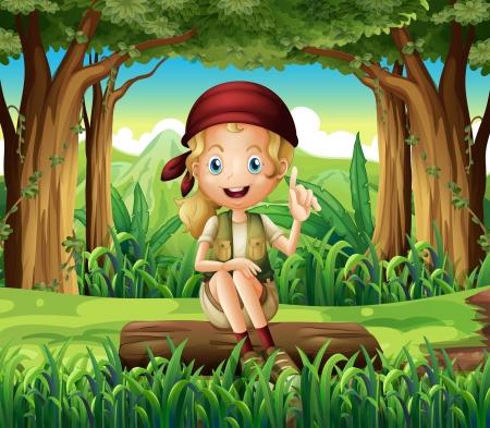 Illustratie van een bos met een jong meisje zitten boven een log Vector Illustratie