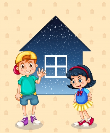 outside the house: Illustration of a small boy and a small girl standing in front of the small house