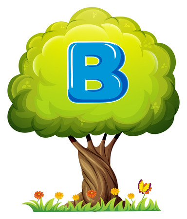 Illustration of a tree with a letter B on a white background Vector
