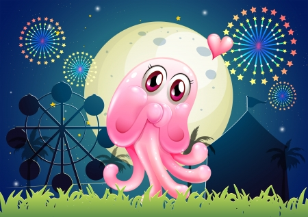 Illustration of an in-love pink monster near the carnival Vector