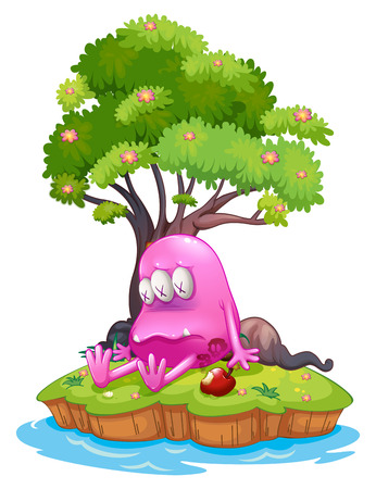 poisoned: Illustration of a poisoned monster in an island on a white background Illustration