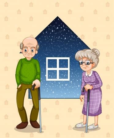 hombre calvo: Ilustraci�n de un abuelo y una abuela Vectores