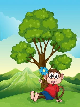 Illustration of a monkey with a flower sitting under the tree Stock Vector - 22405229