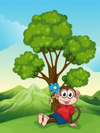 Mountainside: Ilustracja małpy z kwiatu siedzi pod drzewem