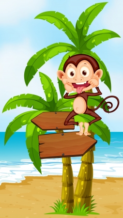 Illustration of a playful monkey above the wooden arrowboard at the beach Vector
