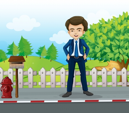 metal mailbox: Illustration of a businessman standing near the wooden mailbox