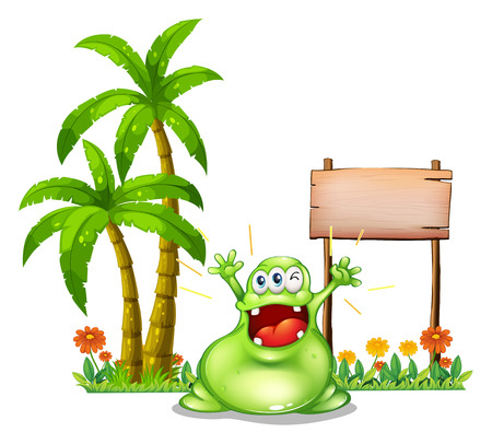 Illustration of a monster in front of the empty wooden signboard on a white background Illustration