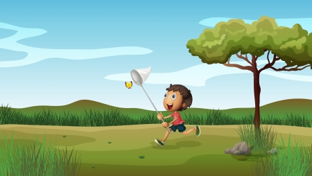 Illustration of a happy young boy catching butterflies Vector