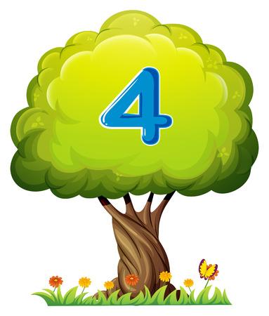 cijfer vier: Illustratie van een boom met een nummer vier figuur op een witte achtergrond Stock Illustratie