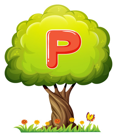 Illustration of a tree with a letter P on a white background Vector