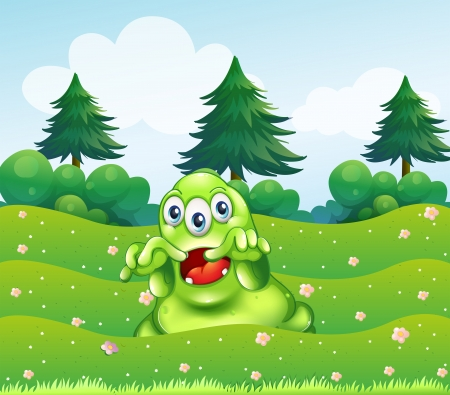 Illustration of a scary three-eyed green monster at the hilltop Vector