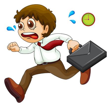 Ilustración de un hombre de negocios tarde en un fondo blanco