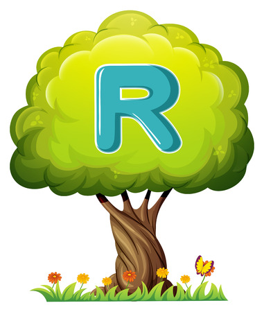Illustration of a tree with a letter R on a white background Vector