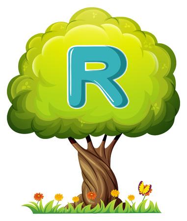 alfabeto con animales: Ilustración de un árbol con una letra R en un fondo blanco