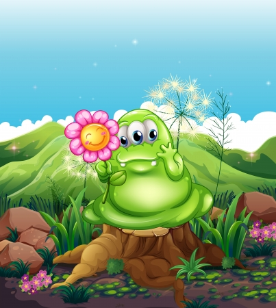 noontime: Illustration of a monster with a flower standing above the stump