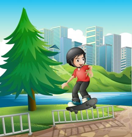 little skate: Illustration of a boy skateboarding near the riverbank