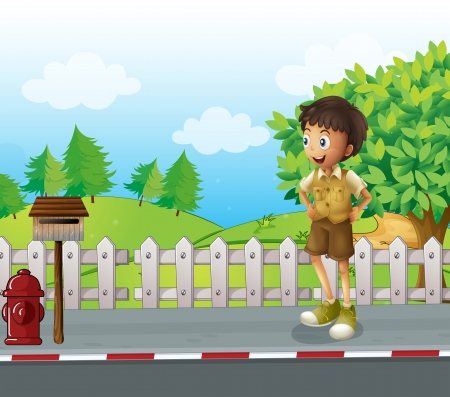 metal mailbox: Illustration of a boy at the road near the wooden mailbox