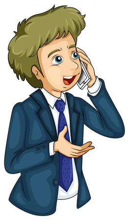Illustration of a businessman using a cellular phone on a white background Illustration