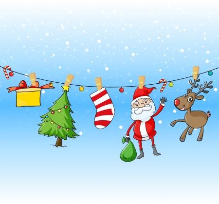 Illustratie van de opknoping symbolen van Kerstmis