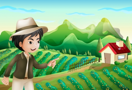 rootcrops: Illustration of a boy pointing at the barnhouse at the farm