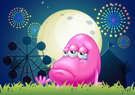 problematic: Illustration of a problematic pink monster near the carnival