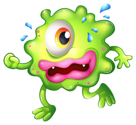 nervousness: Illustration of a green monster escaping on a white background