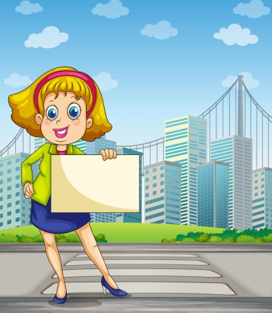 Illustration of a woman at the pedestrian lane holding an empty signage Vector