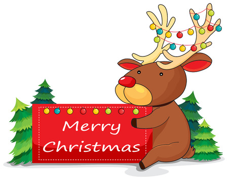 Illustration of a deer holding a christmas card on a white background Vector