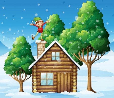 joyful: Illustration of a wooden house with a playful elf at the rooftop Illustration