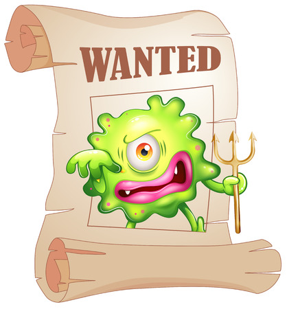 Illustration of a wanted monster on a white background Vector