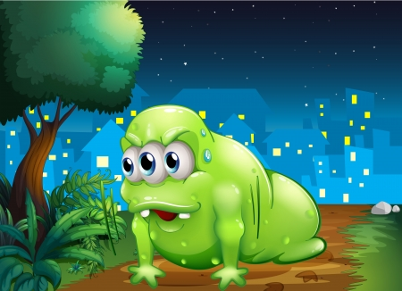 Illustration of a green monster crawling at the ground in the city Vector