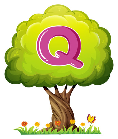 Illustration of a tree with a letter Q on a white background Vector