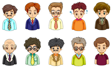Illustration of the different faces of businessmen on a white background Vector