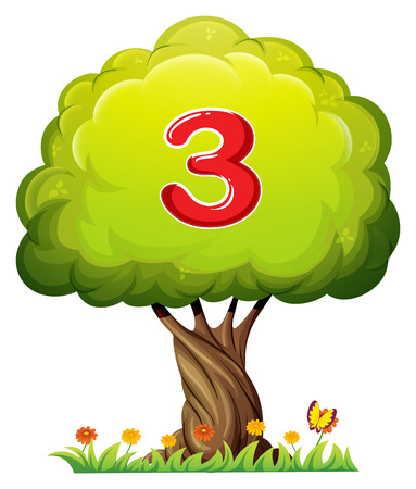 Illustration of a tree with a number three figure on a white background Vector