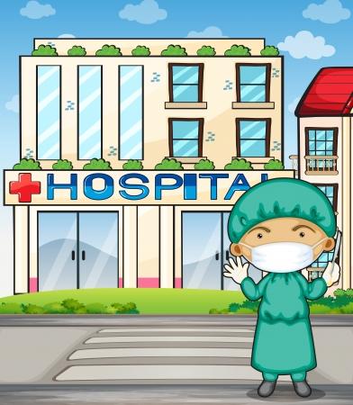 Illustrazione di un medico di fronte all'ospedale Archivio Fotografico - 22405304