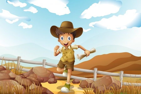 Illustration of a young explorer running with a map in his hand Vector