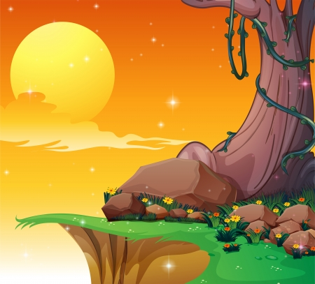 noontime: Illustration of a big tree near the cliff