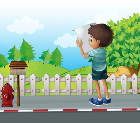 letterbox: Illustration of a boy with a paper standing near the fence at the street Illustration