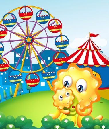 Illustration of a yellow monster and her child at the carnival Vector