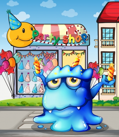 balancing: Illustration of a blue monster balancing the candles in front of the party shop at the street Illustration