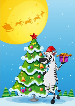 Illustration of a zebra beside the tall christmas tree Vector